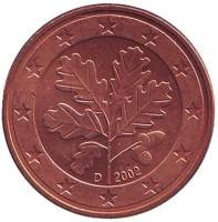 Монета 5 центов. 2002 год (D), Германия.