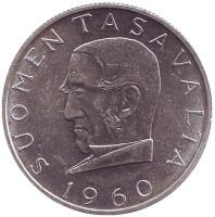 100 лет валютной системе Снелльмана. Монета 1000 марок. 1960 год, Финляндия.