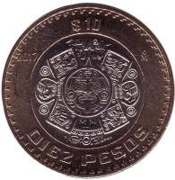 Тонатиу. Ацтекский солнечный камень. Орёл. Монета 10 песо. 2017 год, Мексика. UNC