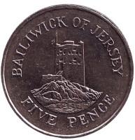 Башня Сеймура в Гровилле. Монета 5 пенсов, 1988 год, Джерси.