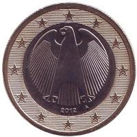 Монета 1 евро. 2012 год (A), Германия.
