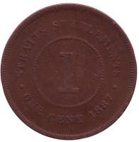 Монета 1 цент. 1887 год, Стрейтс Сетлментс.