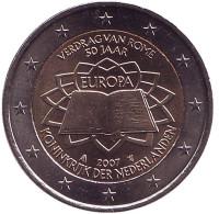 Римский договор. Монета 2 евро. 2007 год, Нидерланды.