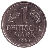 Монета 1 марка. 1990 год (D), ФРГ. (из обращения)