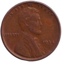 Линкольн. Монета 1 цент. 1934 год, США. (Без отметки монетного двора)