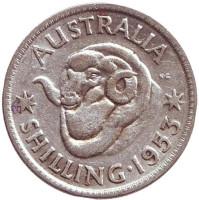 Баран. Монета 1 шиллинг. 1953 год, Австралия.