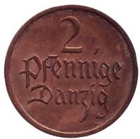 Монета 2 пфеннига. 1937 год, Данциг.