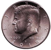 Джон Кеннеди. Монета 1/2 доллара (50 центов), 2018 год (D), США.