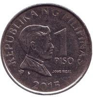 Монета 1 песо. 2015 год, Филиппины.