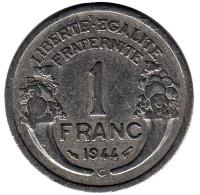 Монета 1 франк. 1944 год (C), Франция.