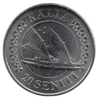 Калия. Тонганская парусная двухкорпусная лодка. Монета 20 сенити. 2015 год, Тонга.