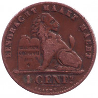 Монета 1 сантим. 1894 год, Бельгия.