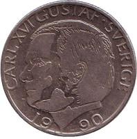 Монета 1 крона. 1990 год, Швеция.