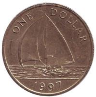 Парусник. Монета 1 доллар. 1997 год, Бермудские острова.