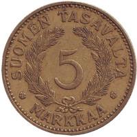 Монета 5 марок. 1937 год, Финляндия.