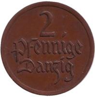 Монета 2 пфеннига. 1926 год, Данциг.
