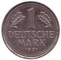 Монета 1 марка. 1991 год (F), ФРГ. Из обращения.