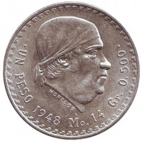 Хосе Мария Морелос. Монета 1 песо. 1948 год, Мексика.