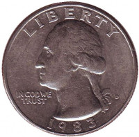 Вашингтон. Монета 25 центов. 1983 (D) год, США.