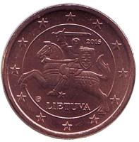 Монета 1 цент. 2016 год, Литва.