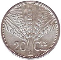 Монета 20 сентесимо. 1954 год, Уругвай.