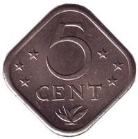Монета 5 центов, 1978 год, Нидерландские Антильские острова.