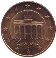 Монета 10 центов. 2002 год (D), Германия.