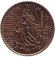 Монета 10 центов. 1999 год, Франция.