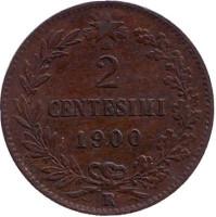 Монета 2 чентезимо. 1900 год, Италия.