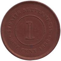 Монета 1 цент. 1888 год, Стрейтс Сетлментс.