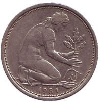 Женщина, сажающая дуб. Монета 50 пфеннигов. 1981 (D) год, ФРГ.