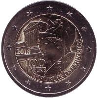 100 лет Австрийской Республике. Монета 2 евро. 2018 год, Австрия.