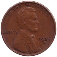 Линкольн. Монета 1 цент. 1936 год (S), США.