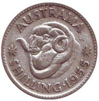 Баран. Монета 1 шиллинг. 1955 год, Австралия.