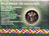 100-летие независимости прибалтийских государств. Монета 2 евро. 2018 год, Эстония. (в коинкарте)