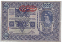 """Бона 1000 крон. 1902 (1919) год, Австро-Венгрия. (Надпечатка). """"II AUFLAGE""""."""