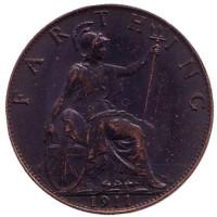 Монета 1 фартинг. 1911 год, Великобритания.