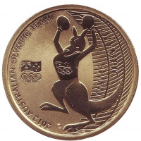 Австралийская олимпийская сборная. Лондон 2012. Монета 1 доллар. 2012 год, Австралия.