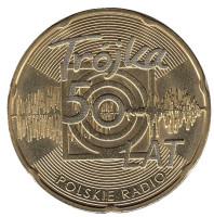 Юбилей польского радио «Тройка». Монета 2 злотых, 2012 год, Польша.