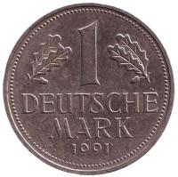 Монета 1 марка. 1991 год (J), ФРГ. Из обращения.
