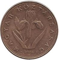 Венгерский ирис. Монета 20 форинтов. 2004 год, Венгрия.