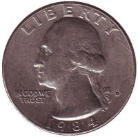 Вашингтон. Монета 25 центов. 1984 (D) год, США.