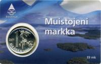 Последняя финская марка. Монета 1 марка. 2001 год, Финляндия. (в коинкарте).