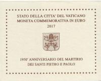 1950 лет мученичеству Святого Петра и Святого Павла. Монета 2 евро. 2017 год, Ватикан. (в буклете).