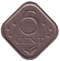 Монета 5 центов, 1983 год, Нидерландские Антильские острова.