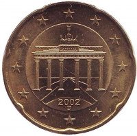 Монета 20 центов. 2002 год (D), Германия.