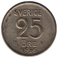 Монета 25 эре. 1956 год, Швеция.