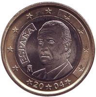 Монета 1 евро. 2004 год, Испания.