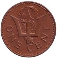 Монета 1 цент. 1981 год, Барбадос.