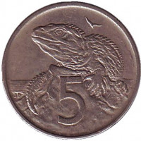 Гаттерия. Монета 5 центов. 1970 год, Новая Зеландия.